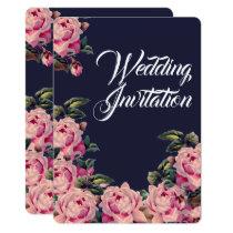Pink Painted Roses Wedding Invitation