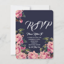 Pink Painted Roses Wedding RSVP