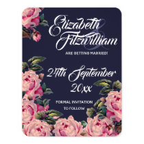 Pink Painted Roses Wedding Save The Date Invitation