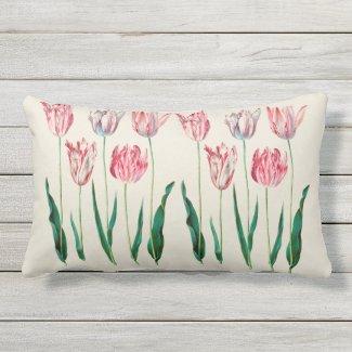 Pink Painted Tulip Botanical Outdoor Lumbar Pillow