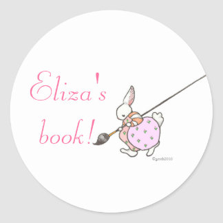 pink painter bunny bookplate classic round sticker
