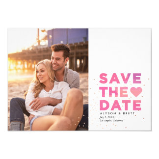 Pink Painterly Confetti Modern Photo Save the Date 5x7 Paper Invitation Card