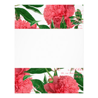 Pink paionias, green stems vintage style letterhead