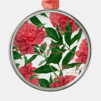 Pink paionias, green stems vintage style metal ornament