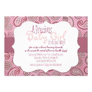 Pink Paisley Baby Girl Shower Invitation