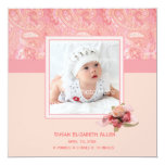 """Pink Paisley Baby Photo Announcement 5.25"""" Square Invitation Card"""