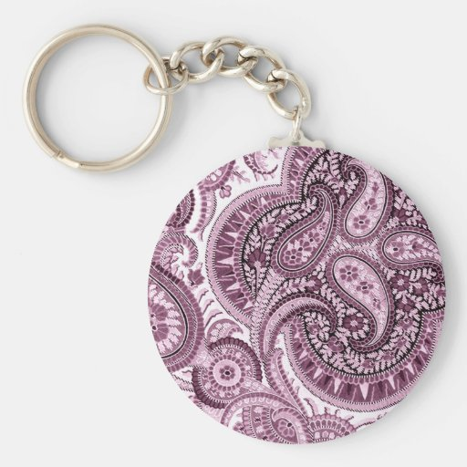 Pink Paisley Basic Round Button Keychain