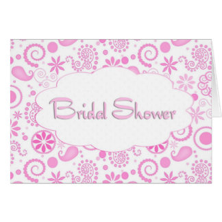 Pink Paisley Bridal Shower Invitation Greeting Cards