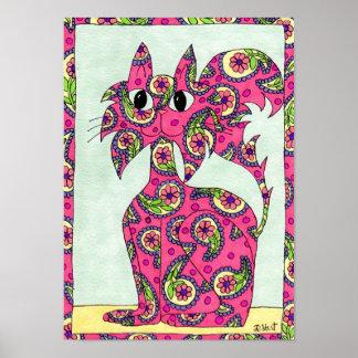 Pink Paisley Cat Folk Art Poster