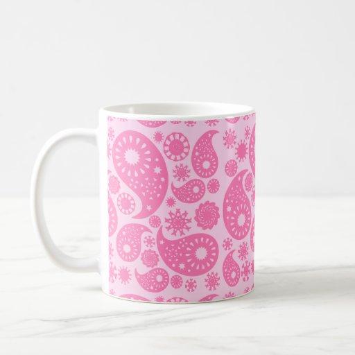 Pink Paisley. Coffee Mugs