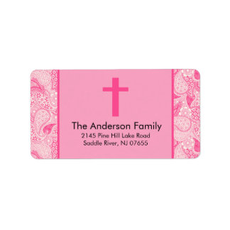 Pink Paisley Cross Religious Baptism Address Label