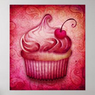 pink paisley cupcake canvas print