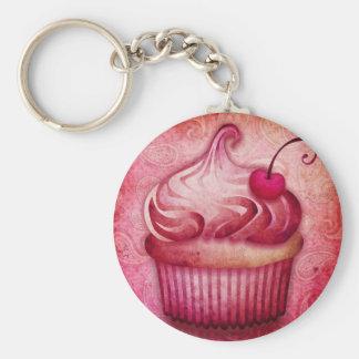 pink paisley cupcake keychain