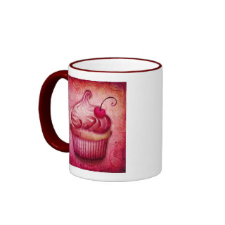 pink paisley cupcake mug