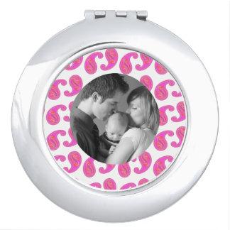 Pink Paisley, Custom Photo Compact Mirror