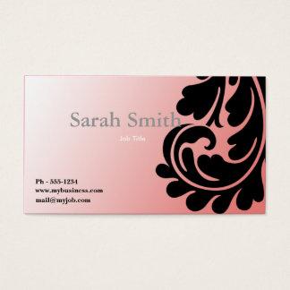 Pink paisley damask business card