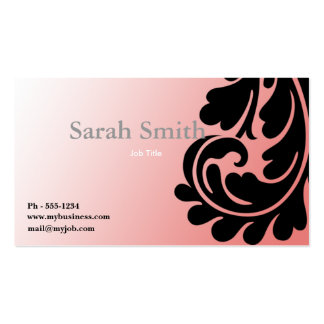 Pink paisley damask business card