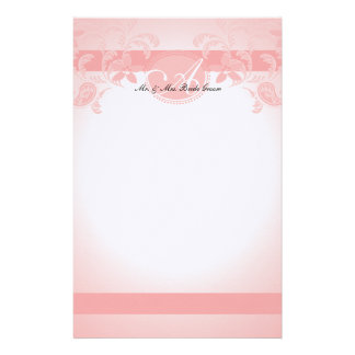 Pink Paisley Floral Monogram Stationery