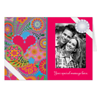 Pink Paisley Garden Personalized Photo Valentine Card