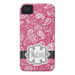PINK Paisley Girly Pattern with Name iPhone 4 Cover