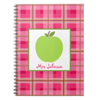 Pink Paisley Green Apple Teacher Notebook