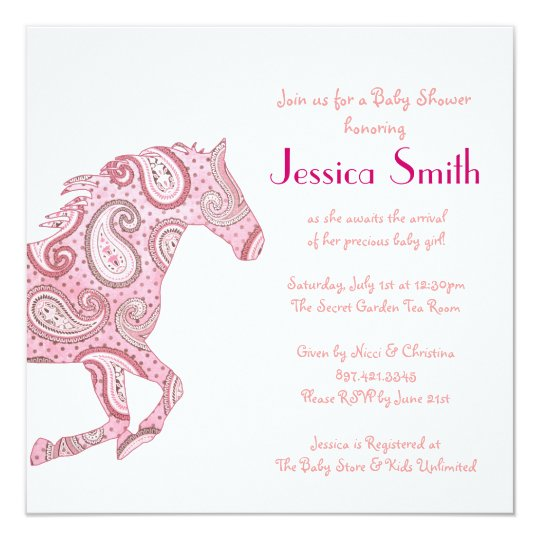 Pink Paisley Horse Baby Shower Card