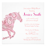 Pink Paisley Horse Baby Shower Custom Announcement