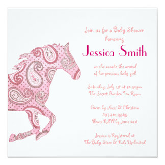 Pink Paisley Horse Baby Shower 5.25x5.25 Square Paper Invitation Card