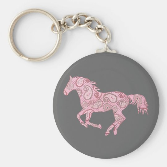 Pink Paisley Horse Keychain