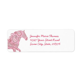 Pink Paisley Horse Label