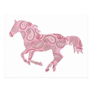 Pink Paisley Horse Postcard