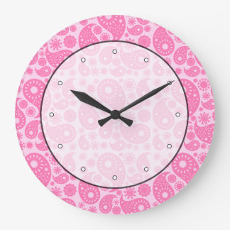 Pink Paisley. Large Clock