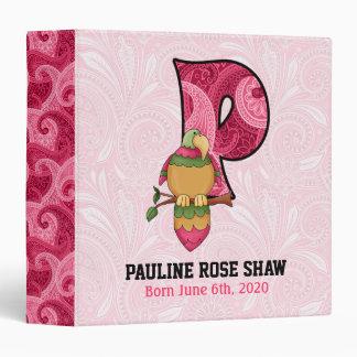 "Pink Paisley Monogram ""P"" Baby Scrapbook Binder"