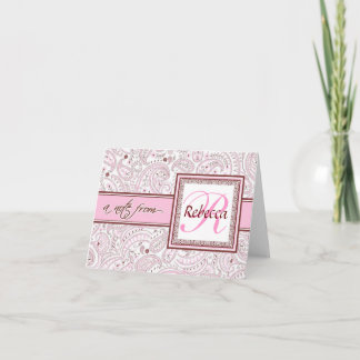 Pink Paisley Monogrammed Name Note Card