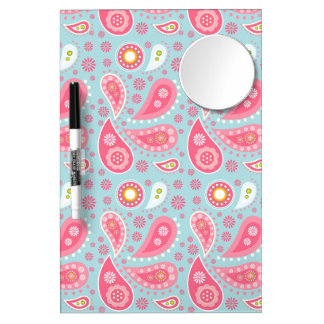 Pink Paisley on Light Turquoise Dry Erase Board With Mirror