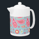 """Pink Paisley on Light Turquoise Teapot<br><div class=""""desc"""">Relive the 60s with this fun pink floral paisley. The background color? I&#39;m not sure! Aqua? Turquoise? Kind of a greenish-blue? Pretty,  at any rate. Graphics by Lilly Bimble.</div>"""