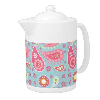 Pink Paisley on Light Turquoise Teapot