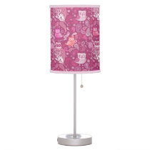Pink paisley Owls   pattern Table Lamp