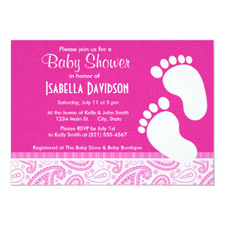 Pink Paisley Pattern Custom Announcements