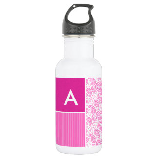 Pink Paisley Pattern 18oz Water Bottle