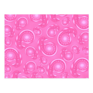 Pink Paisley Pattern Postcard