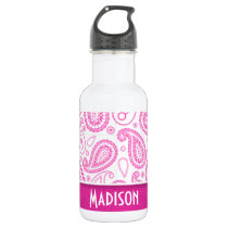 Pink Paisley Pattern Stainless Steel Water Bottle