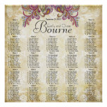Pink Paisley Peacock Reception Seating Chart Poster