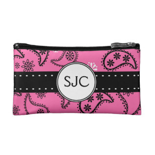 Pink Paisley Personalized with Initials Cosmetic Bag at Zazzle