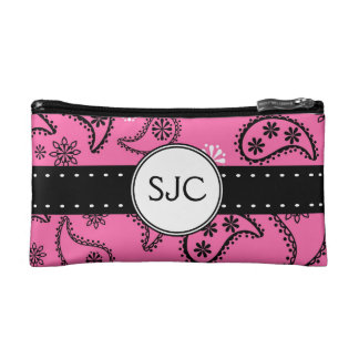 Pink Paisley Personalized with Initials Cosmetic Bag