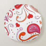 Pink Paisley Round Pillow