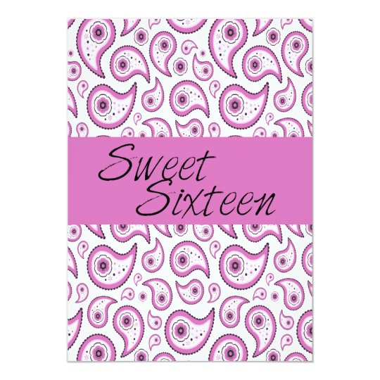 Pink Paisley Sweet Sixteen Invitation
