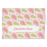 Pink Paisley Thank You Note / baby name Card