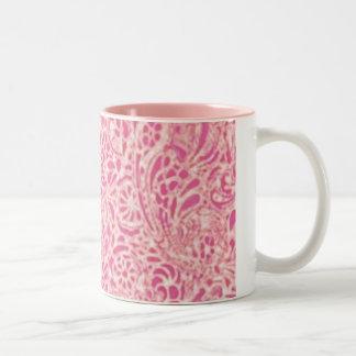 Pink Paisley Two-Tone Coffee Mug
