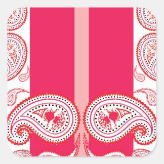 Pink paisleys square stickers
